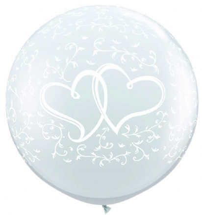 3FT Diamond Clear  Entwined Hearts Latex Balloons x 2